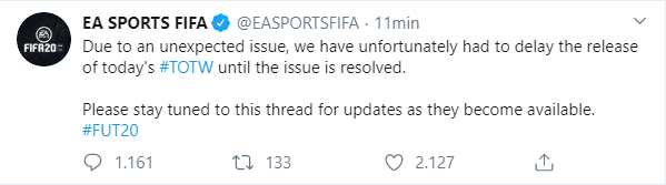 FIFA 20: l'uscita del TOTW 26 subirà un ritardo