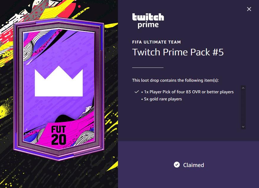 FIFA 20: Twitch Prime pack gratis di giugno