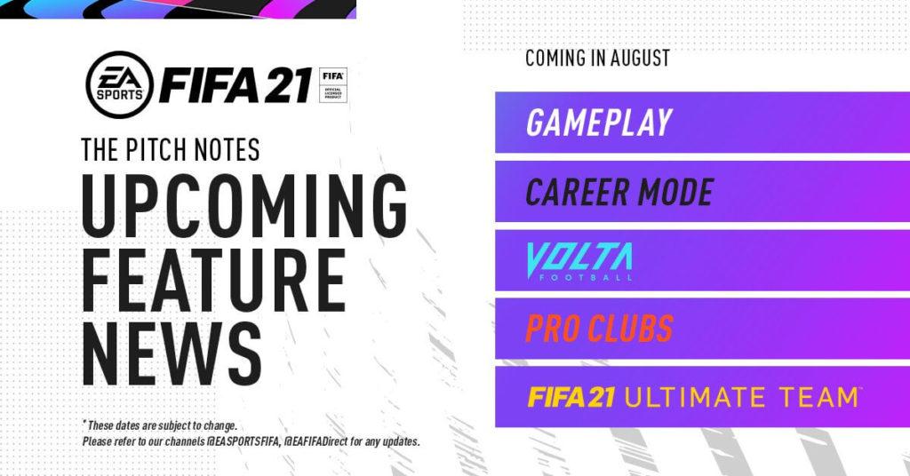 FIFA 21: news modalità di gioco attraverso pitch notes