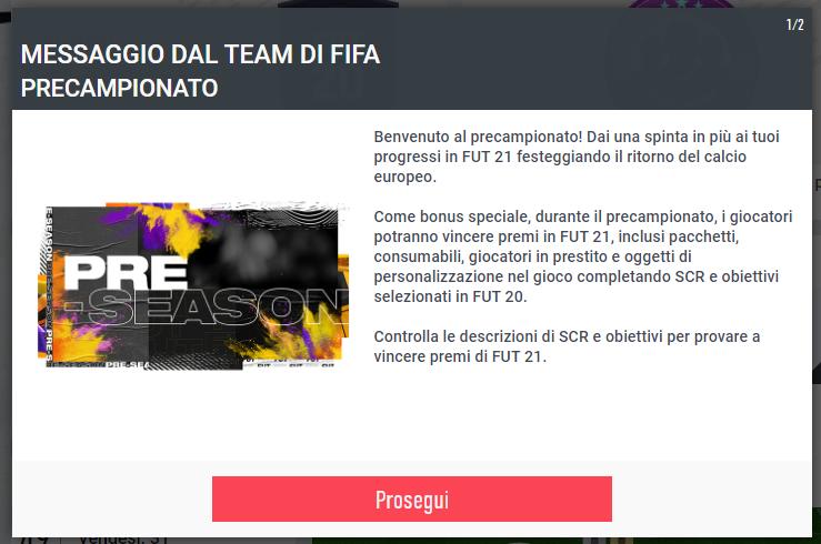 FIFA 20 pre-season - i bonus per FIFA 21