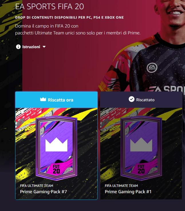 FIFA 20: pack omaggio Twitch Prime di agosto