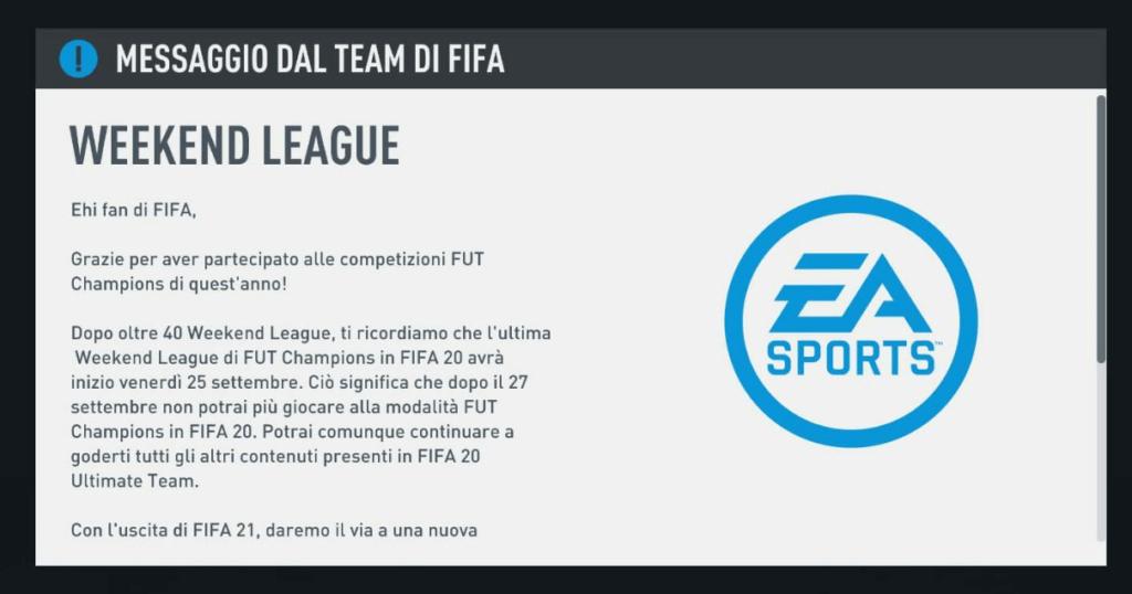 FIFA 20: Ultima WL il 25-27 settembre