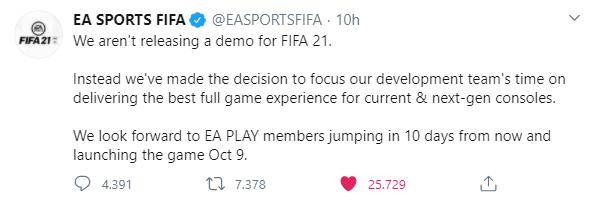 EA Sports tweet: niente DEMO per FIFA 21