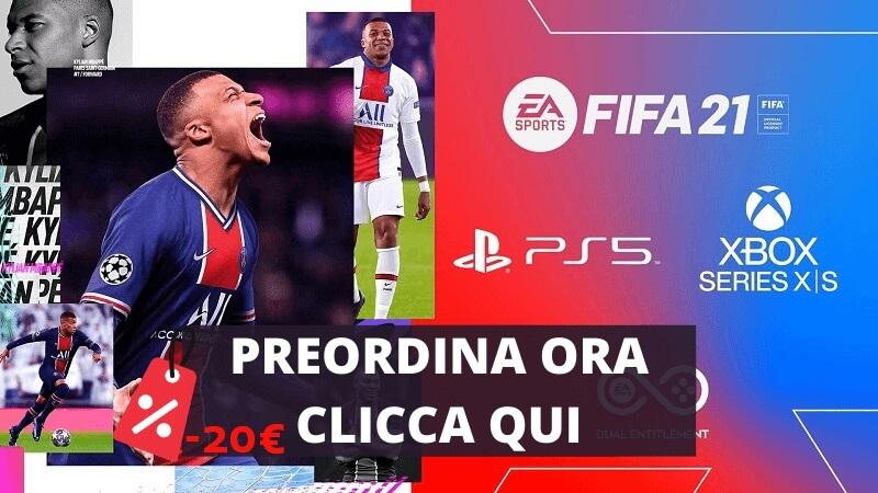 Preordina FIFA 21 per PS5 e XBOX Serie X con 20€ sconto