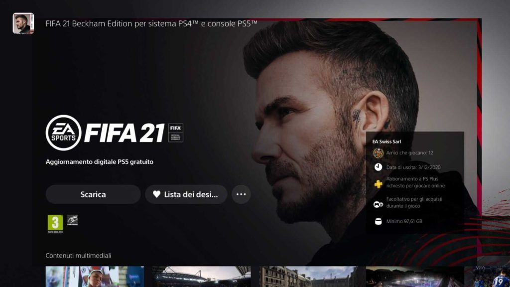 FIFA 21 Beckham edition: download disponibile su PS5