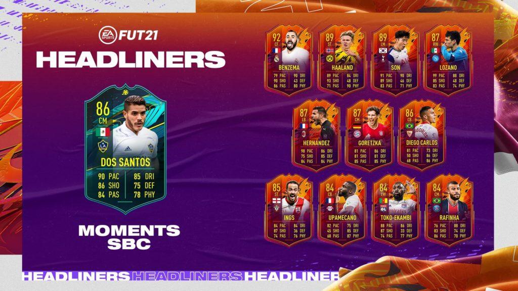 FIFA 21: Dos Santos player moments SBC