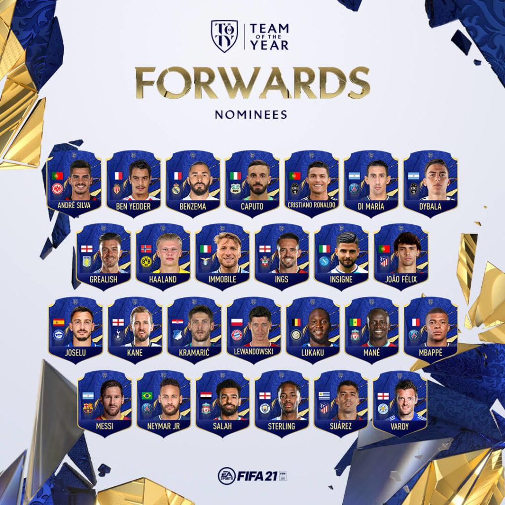 FIFA 21: nominati TOTY attaccanti