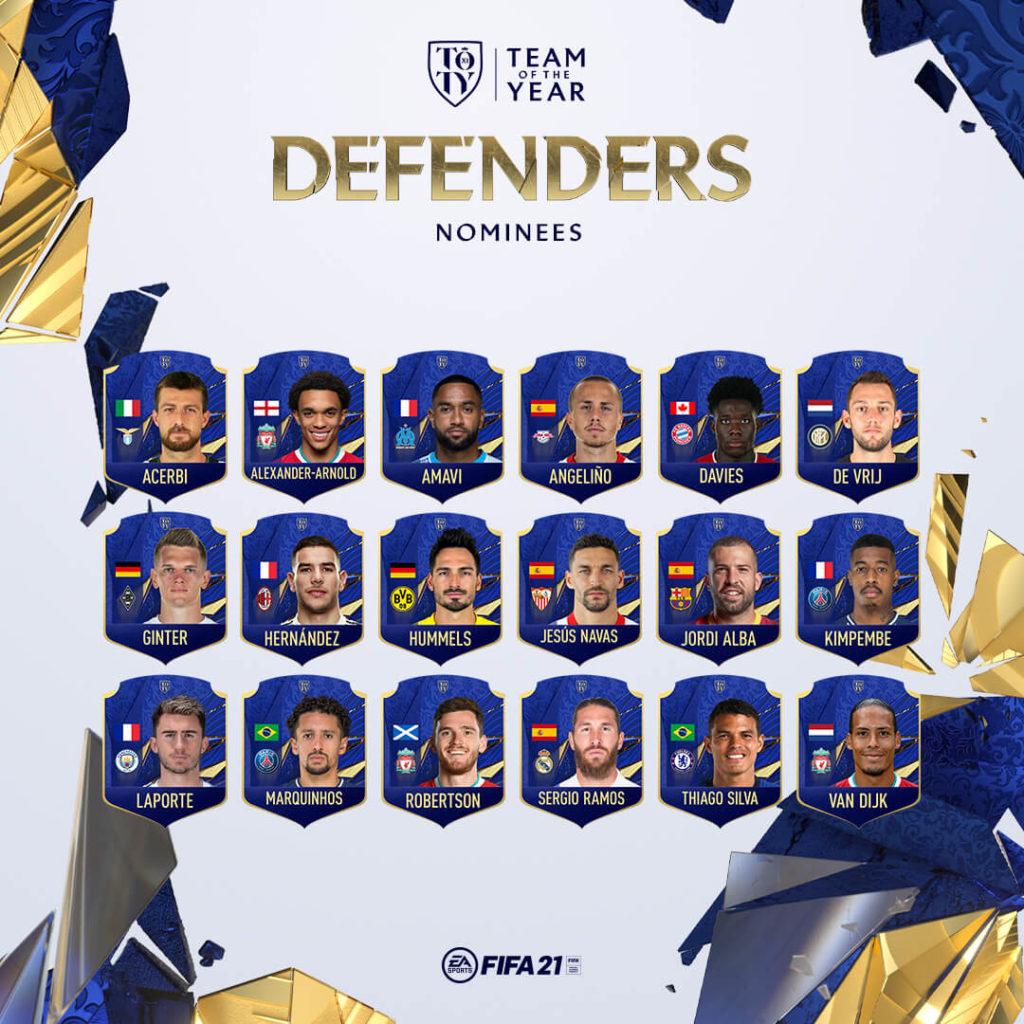 FIFA 21: nominati TOTY difensori