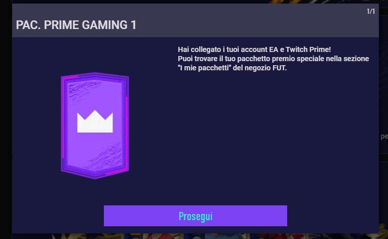 FIFA 21 Web App: pacchetto Twitch Prime Gaming ottenuto