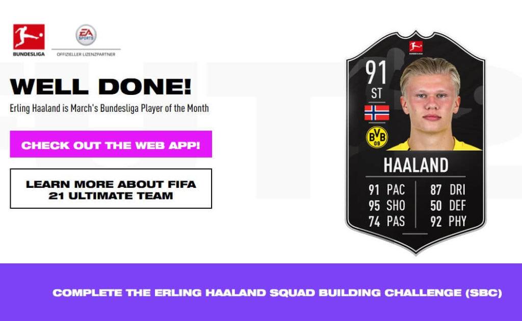 FIFA 21: Erling Haaland POTM SBC
