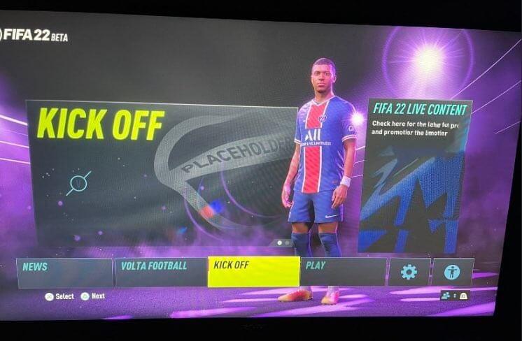FIFA 22: BETA menù