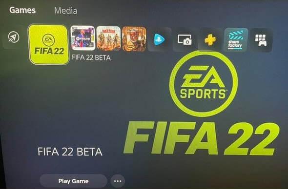 FIFA 22 BETA: immagine dell'app di avvio