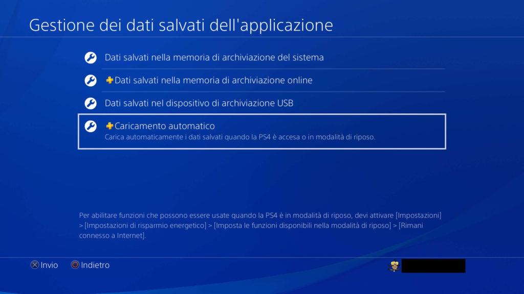 PS4: caricamento automatico dati di salvataggio sul cloud PSN