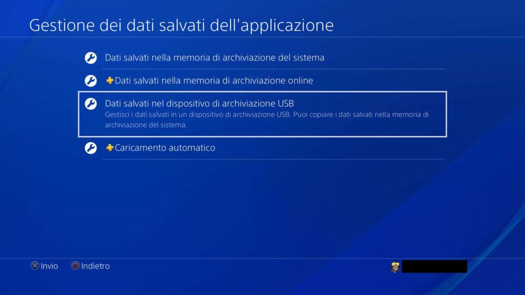 PS4: Dati salvati sul dispositivo di archiviazione USB