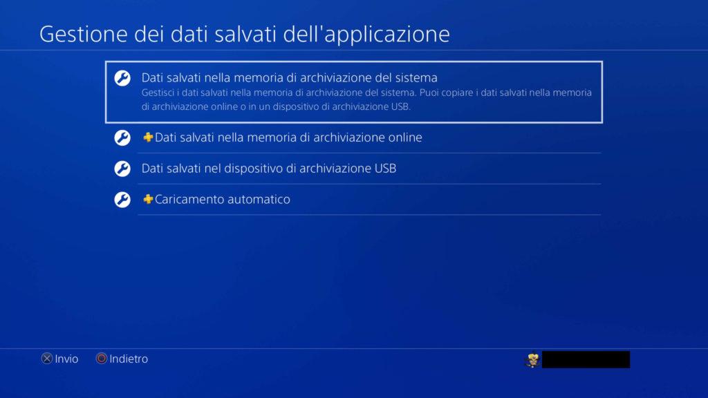 PS4: Dati salvati nella memoria di archiviazione del sistema