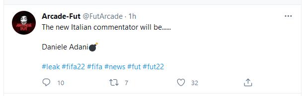Tweet news, Lele Adani commentatore di FIFA 22