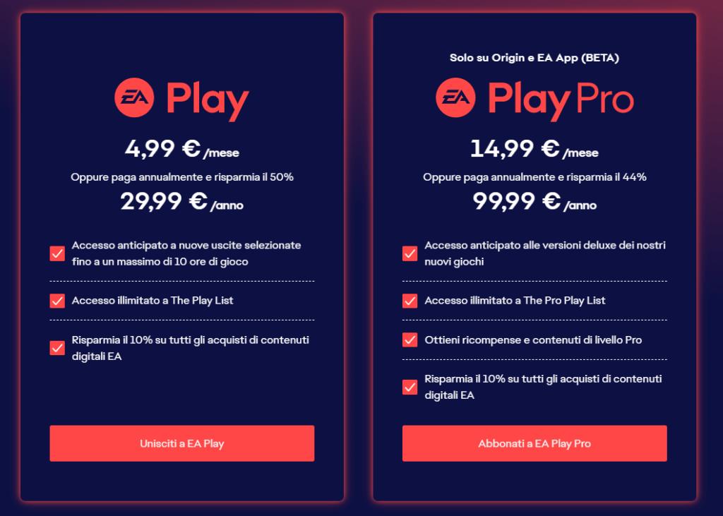 I prezzi di EA Play