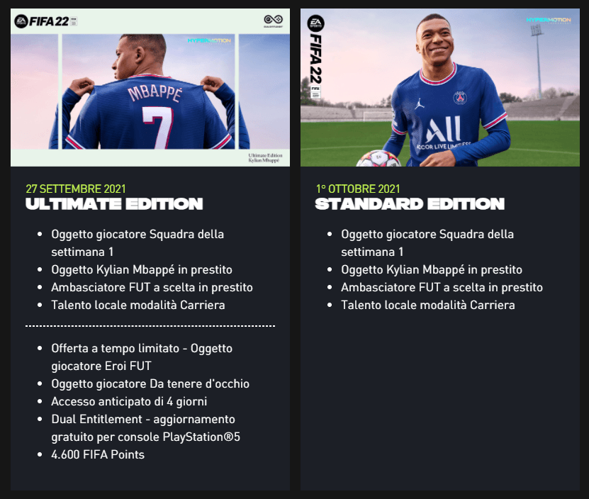 FIFA 22: confronto edizioni e bonus preordine