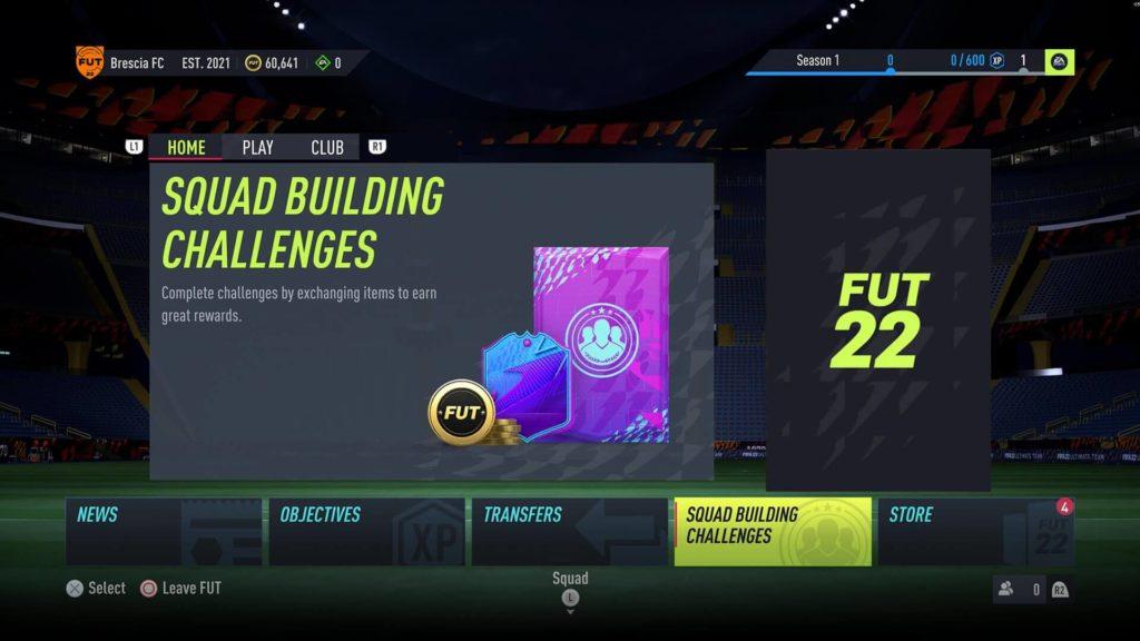 FIFA 22: Squad Build Challenges menù