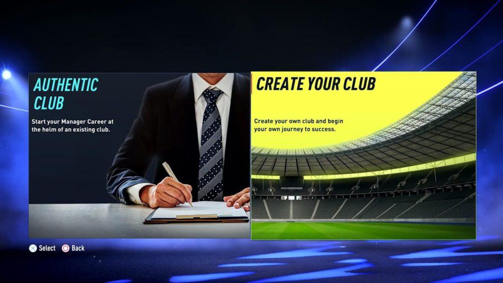 FIFA 22: scelta creazione club in modalità carriera