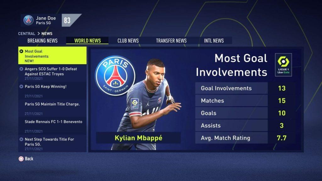 FIFA 22: career mode news screenshot