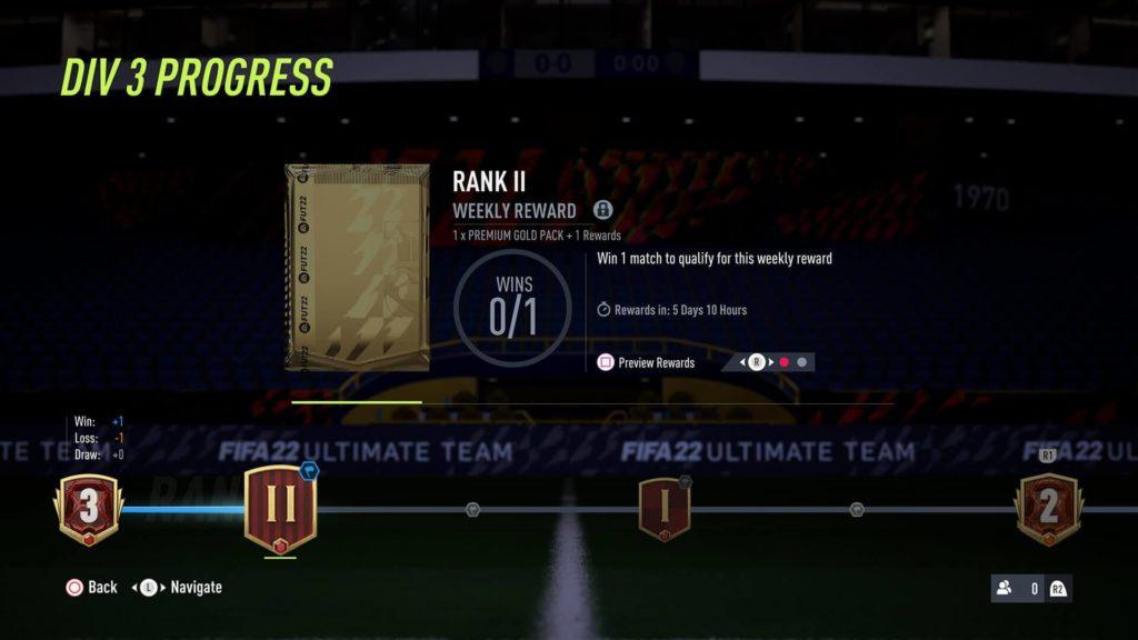 FIFA 22: progressi premi settimanali Division Rivals