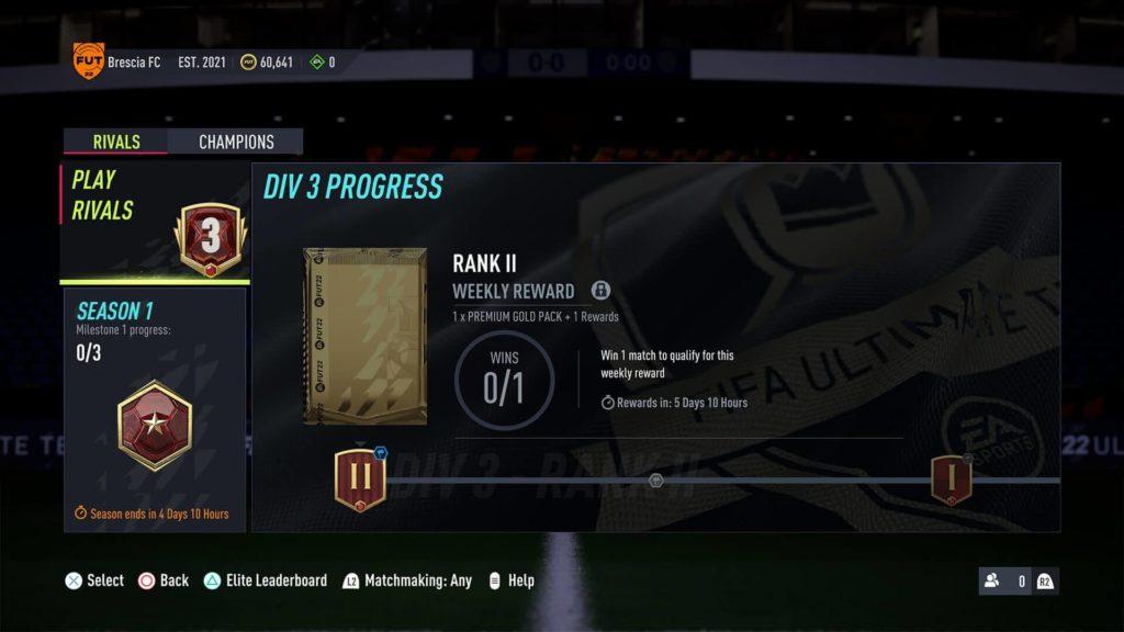 FIFA 22: progressi settimanali Division Rivals