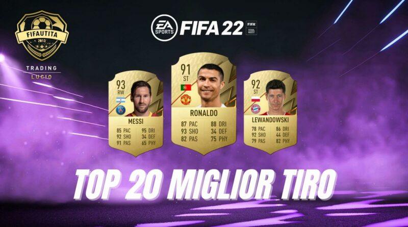 FIFA FUT 22: TOP 20 giocatori con attributo tiro migliore