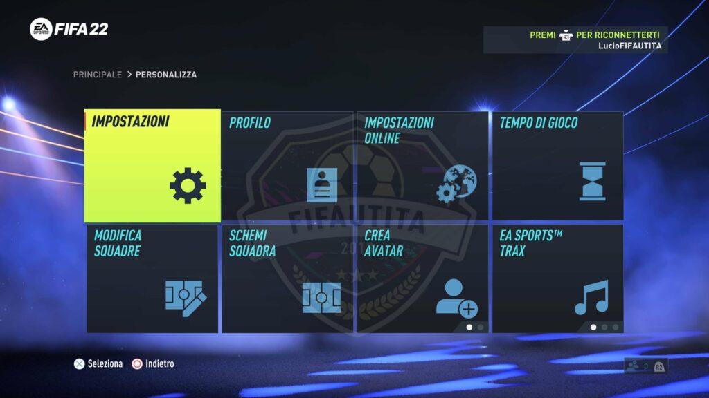 FIFA 22: personalizza e impostazioni