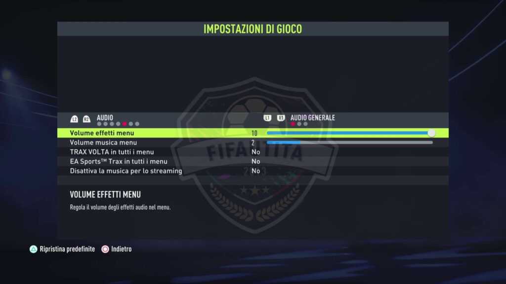 FIFA 22: impostazioni di gioco, audio