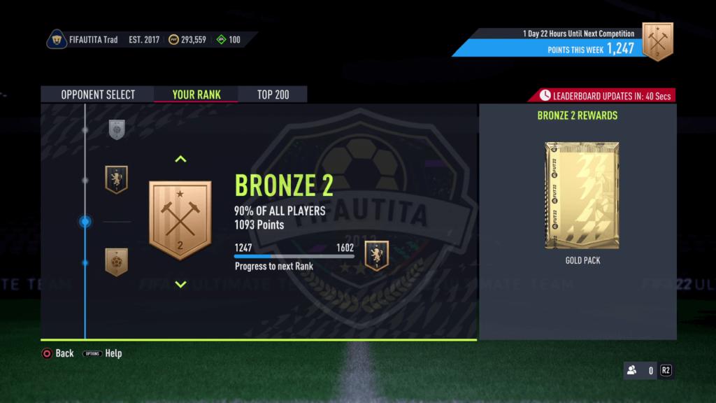 Premi Squad Battles FIFA 22: Rank bronze 2
