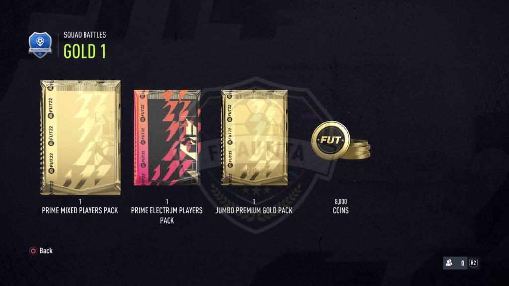 Premi Squad Battles FIFA 22: Rank gold 1