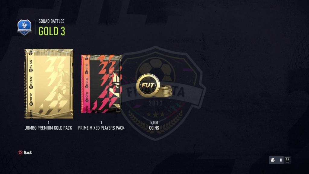Premi Squad Battles FIFA 22: Rank gold 3