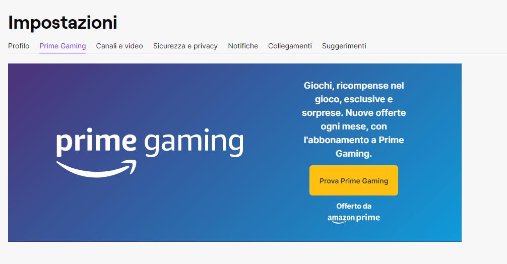 Come collegare Amazon Prime a Twitch